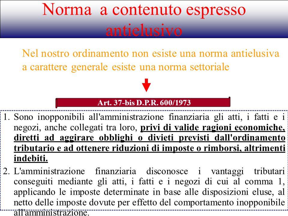 Norma a contenuto espresso antielusivo Art. 37-bis D.P.R. 600/1973 1.Sono inopponibili all'amministrazione finanziaria gli atti, i fatti e i negozi, a