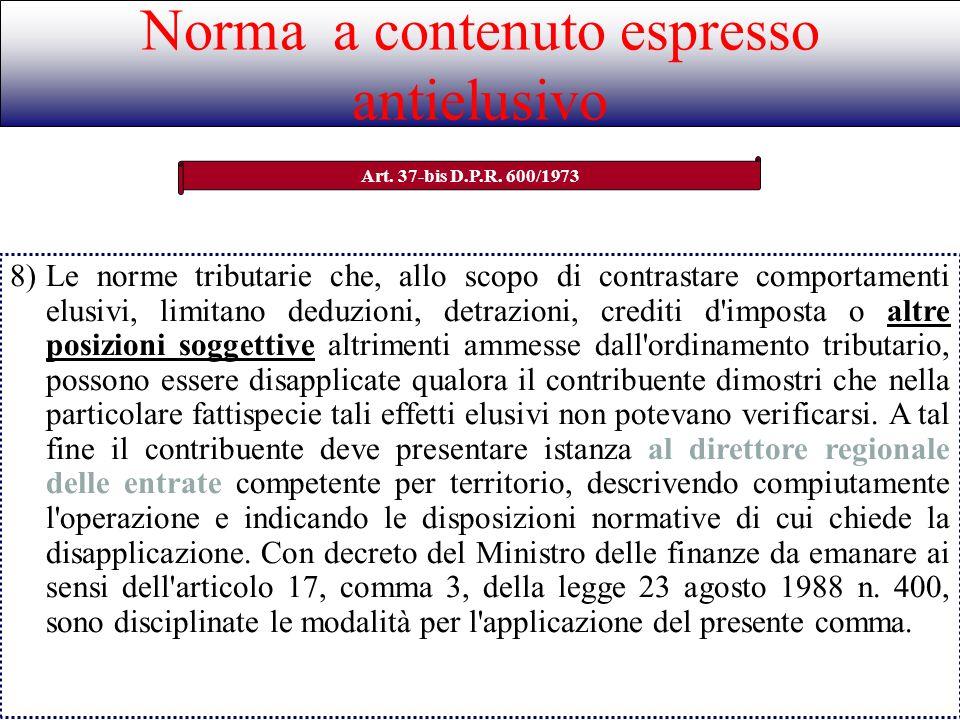 Norma a contenuto espresso antielusivo Art. 37-bis D.P.R. 600/1973 8)Le norme tributarie che, allo scopo di contrastare comportamenti elusivi, limitan