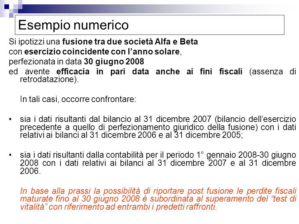 Esempio numerico Si ipotizzi una fusione tra due società Alfa e Beta con esercizio coincidente con lanno solare, perfezionata in data 30 giugno 2008 e