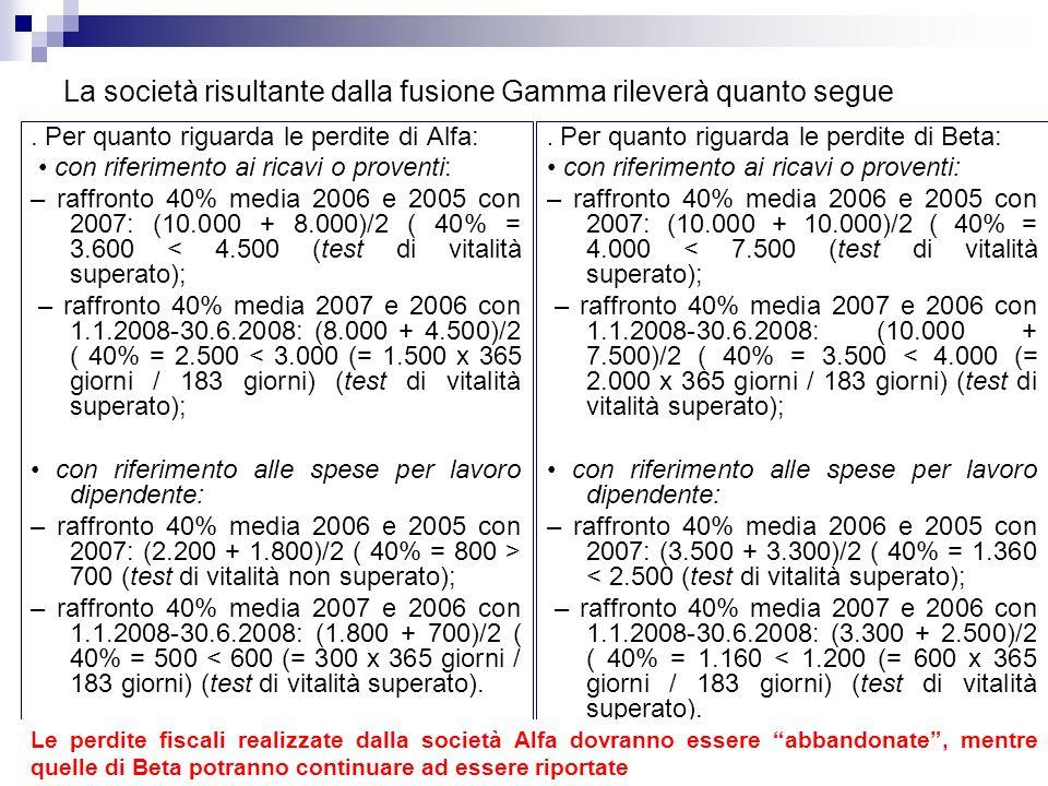 La società risultante dalla fusione Gamma rileverà quanto segue. Per quanto riguarda le perdite di Alfa: con riferimento ai ricavi o proventi: – raffr
