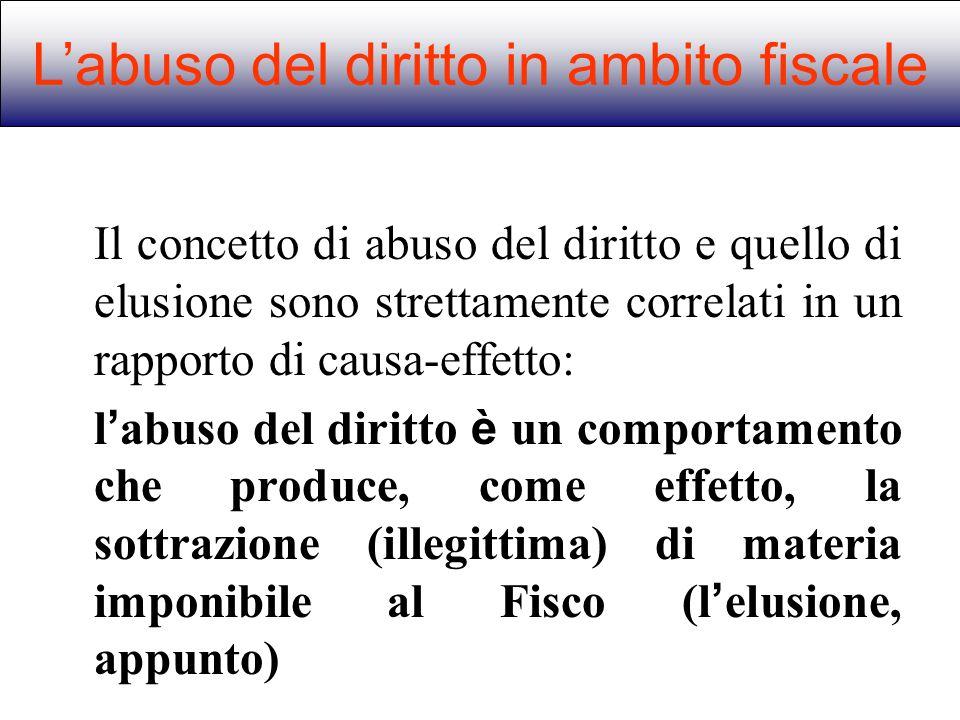 Il concetto di abuso del diritto e quello di elusione sono strettamente correlati in un rapporto di causa-effetto: l abuso del diritto è un comportame