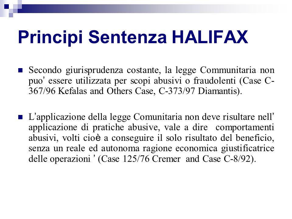Principi Sentenza HALIFAX Secondo giurisprudenza costante, la legge Communitaria non puo essere utilizzata per scopi abusivi o fraudolenti (Case C- 36