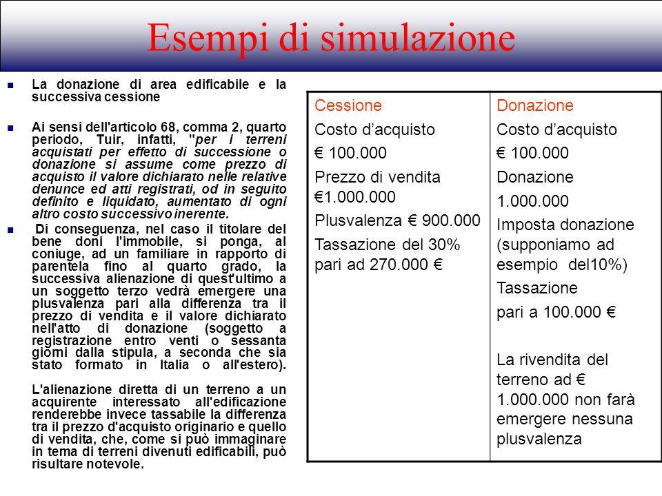 La donazione di area edificabile e la successiva cessione Ai sensi dell'articolo 68, comma 2, quarto periodo, Tuir, infatti,