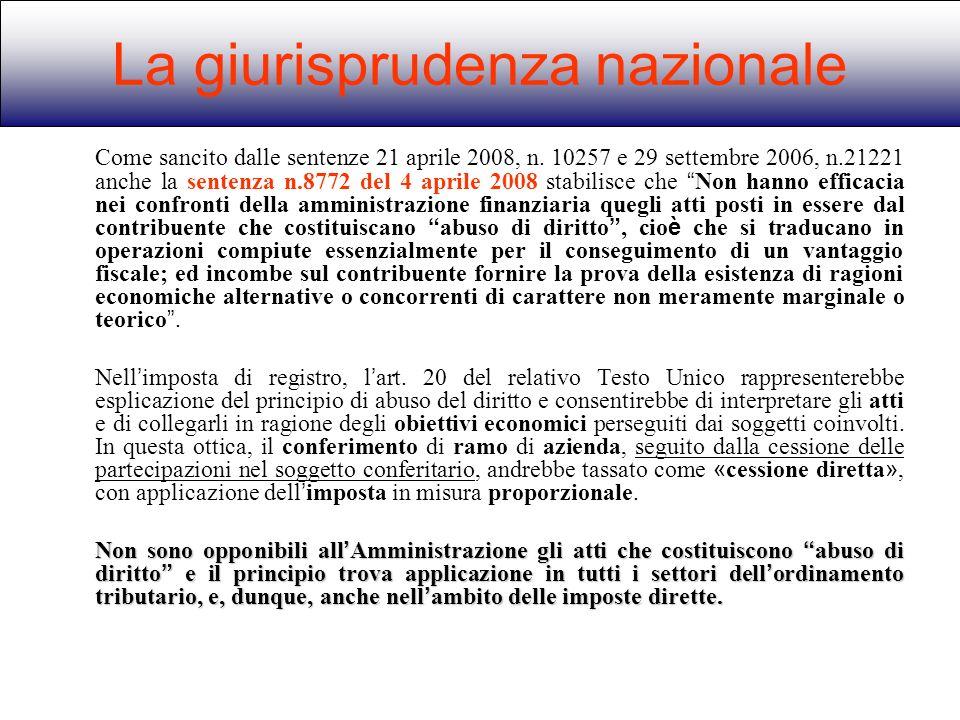 Come sancito dalle sentenze 21 aprile 2008, n. 10257 e 29 settembre 2006, n.21221 anche la sentenza n.8772 del 4 aprile 2008 stabilisce che Non hanno
