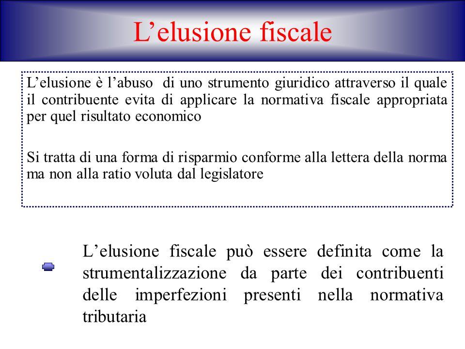 Lelusione fiscale può essere definita come la strumentalizzazione da parte dei contribuenti delle imperfezioni presenti nella normativa tributaria Lel