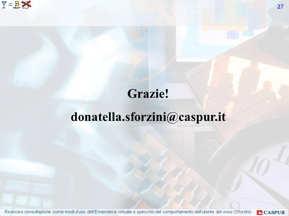 Ricerca e consultazione come modi duso dellEmeroteca virtuale e specchio del comportamento dellutente del www (Sforzini) 27 Grazie.