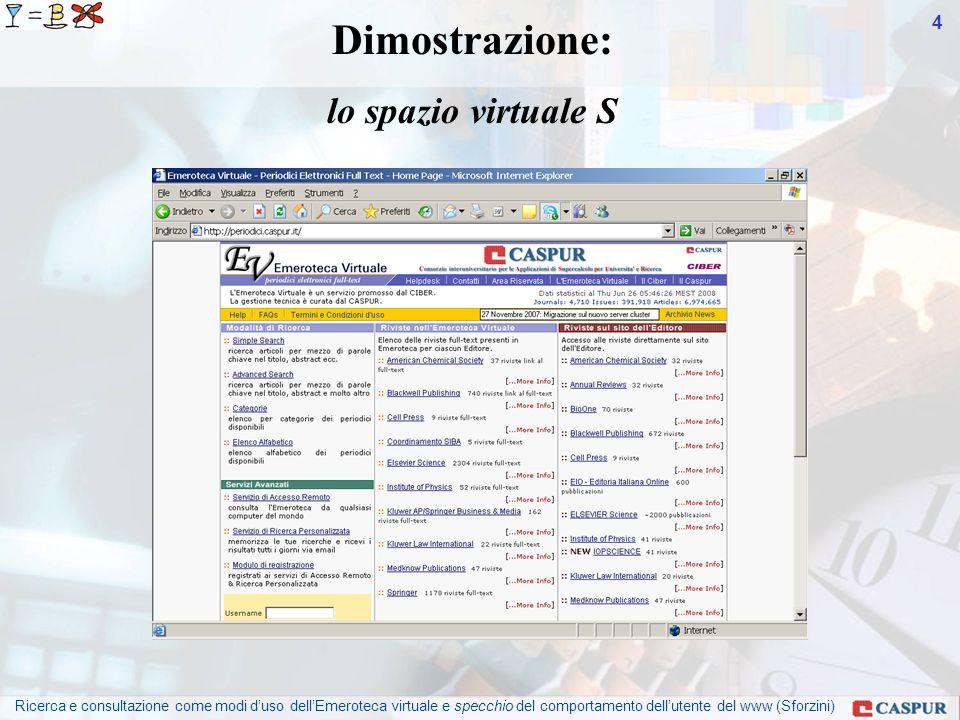 Ricerca e consultazione come modi duso dellEmeroteca virtuale e specchio del comportamento dellutente del www (Sforzini) 4 Dimostrazione: lo spazio virtuale S