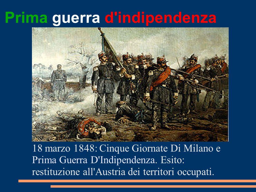 Prima guerra d'indipendenza 18 marzo 1848: Cinque Giornate Di Milano e Prima Guerra D'Indipendenza. Esito: restituzione all'Austria dei territori occu