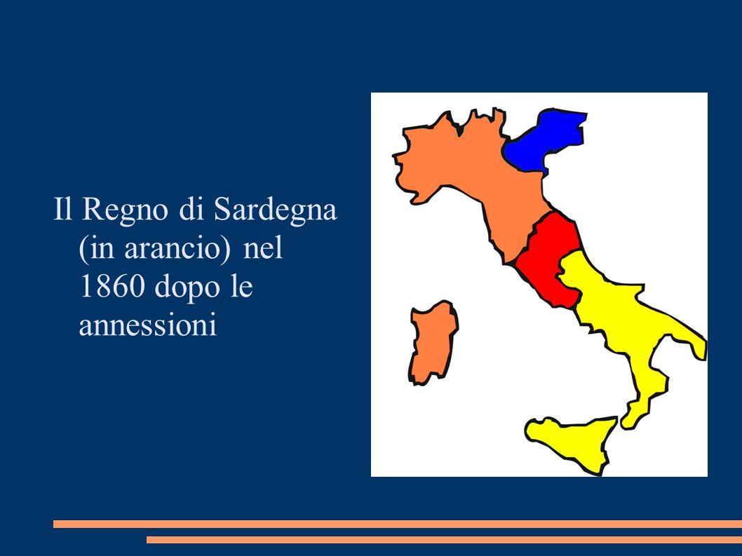 Il Regno di Sardegna (in arancio) nel 1860 dopo le annessioni