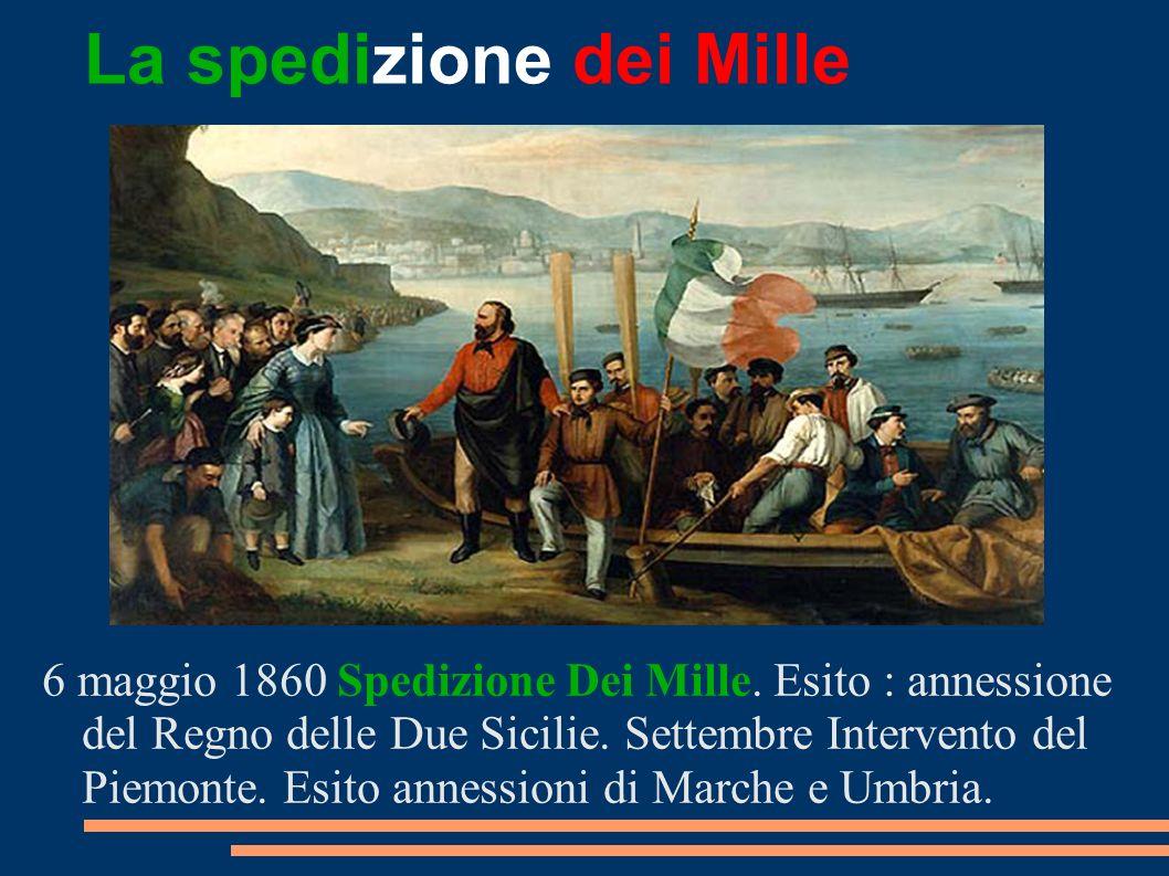 La spedizione dei Mille 6 maggio 1860 Spedizione Dei Mille. Esito : annessione del Regno delle Due Sicilie. Settembre Intervento del Piemonte. Esito a