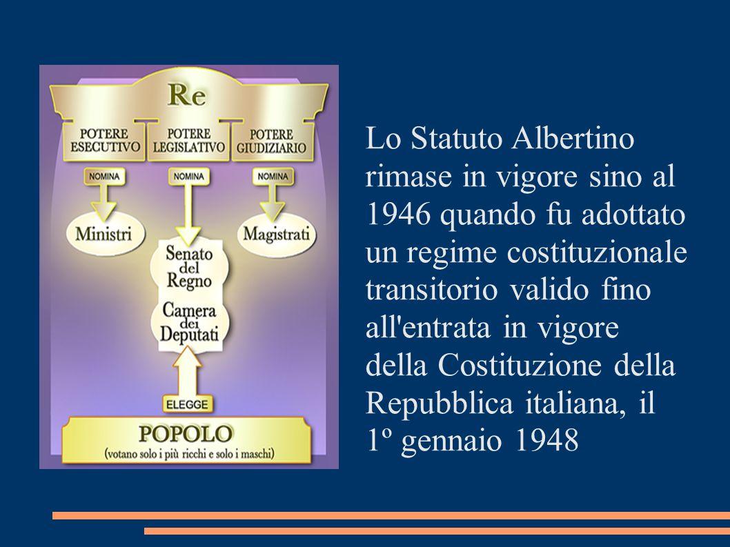 Lo Statuto Albertino rimase in vigore sino al 1946 quando fu adottato un regime costituzionale transitorio valido fino all'entrata in vigore della Cos