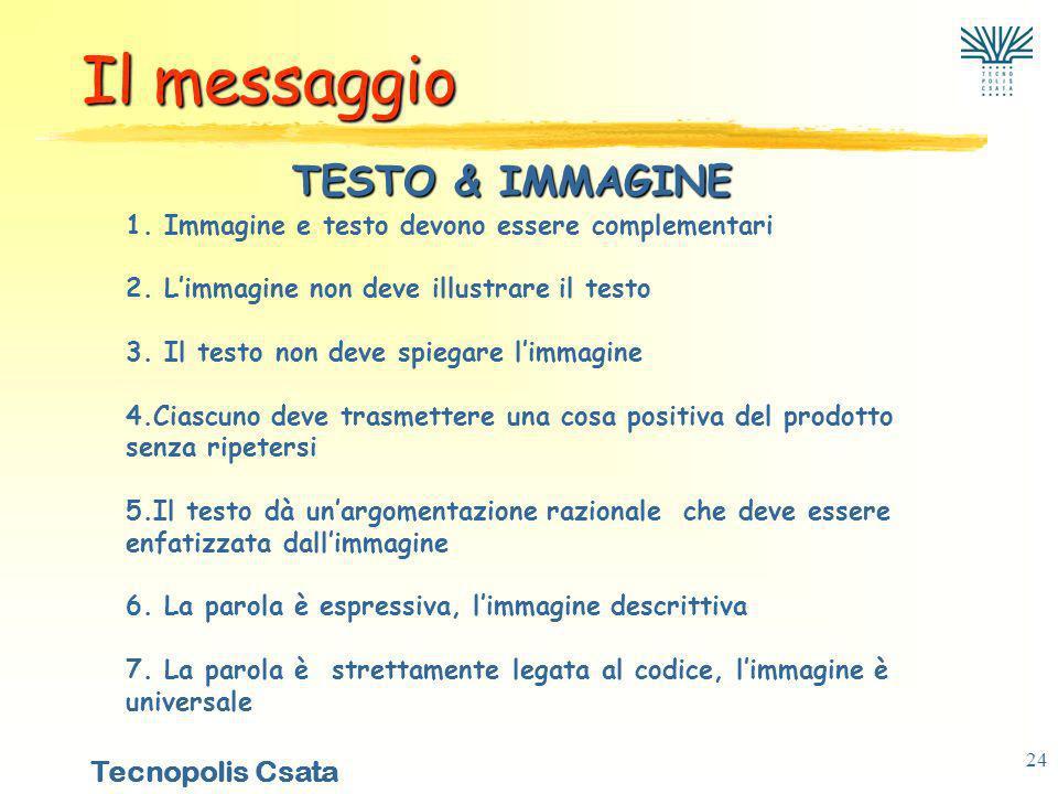 Tecnopolis Csata 24 TESTO & IMMAGINE 1.Immagine e testo devono essere complementari 2.
