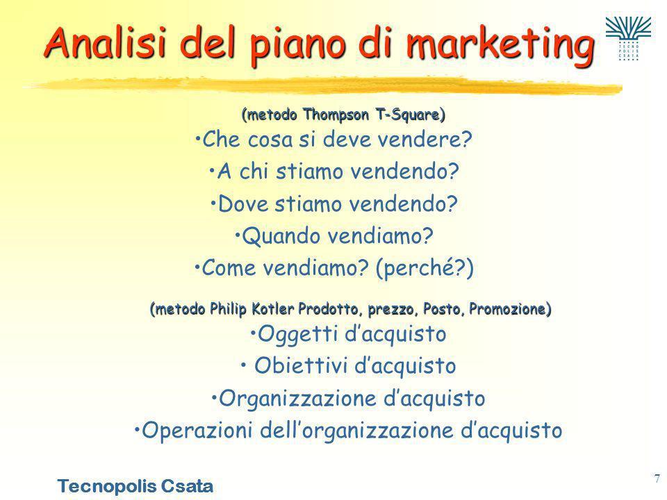 Tecnopolis Csata 7 Analisi del piano di marketing Che cosa si deve vendere.