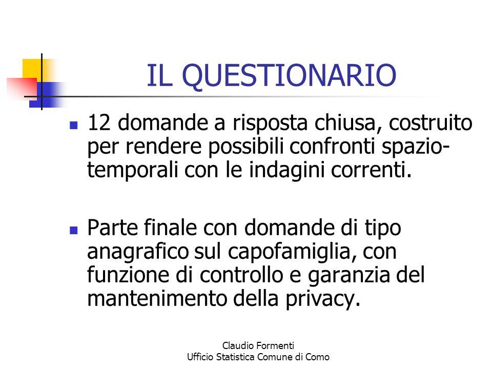 Claudio Formenti Ufficio Statistica Comune di Como IL QUESTIONARIO 12 domande a risposta chiusa, costruito per rendere possibili confronti spazio- tem