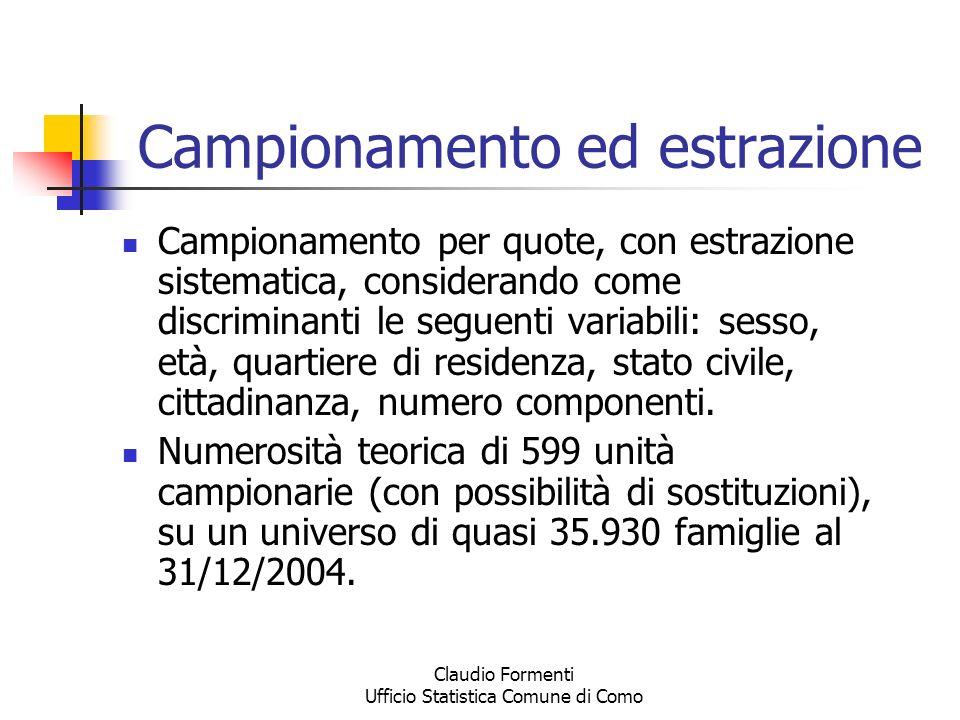Claudio Formenti Ufficio Statistica Comune di Como Campionamento ed estrazione Campionamento per quote, con estrazione sistematica, considerando come
