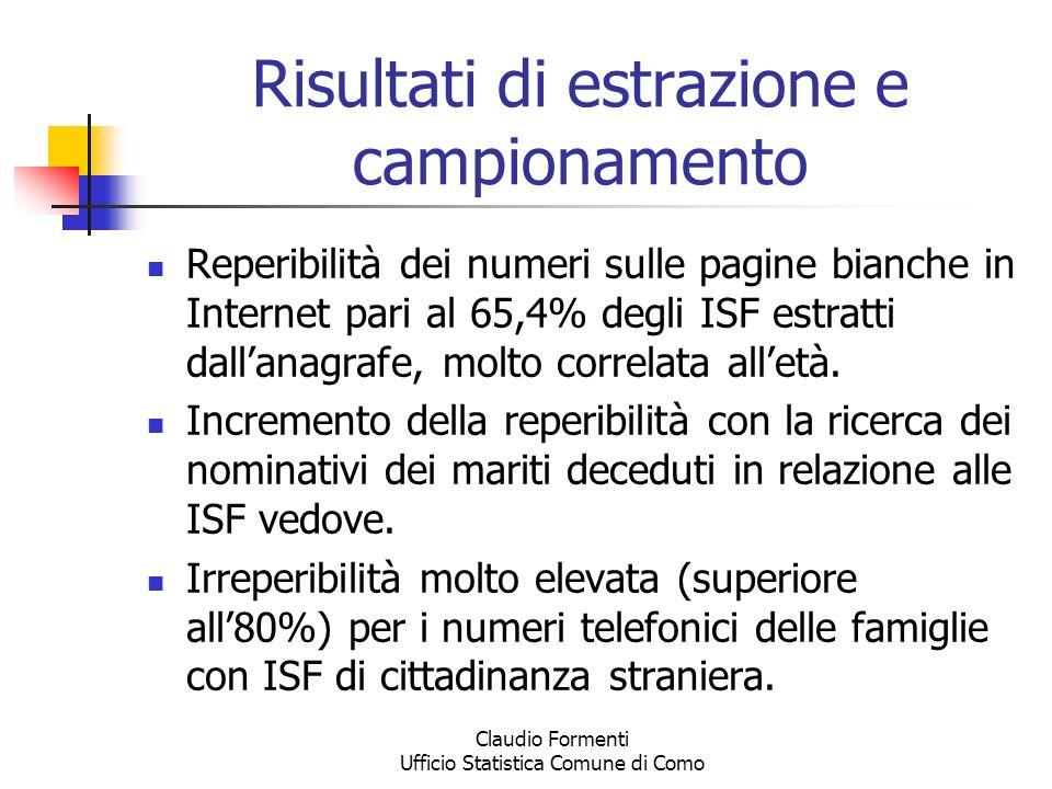 Claudio Formenti Ufficio Statistica Comune di Como La rilevazione Invio di lettera di preavviso alle famiglie da intervistare.