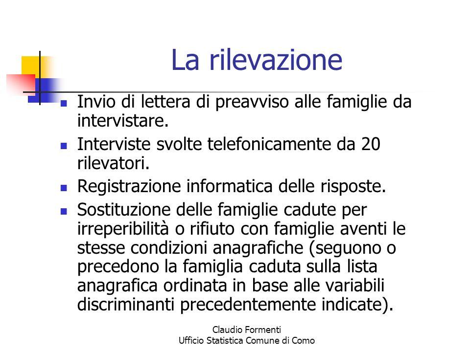 Claudio Formenti Ufficio Statistica Comune di Como La rilevazione Invio di lettera di preavviso alle famiglie da intervistare. Interviste svolte telef