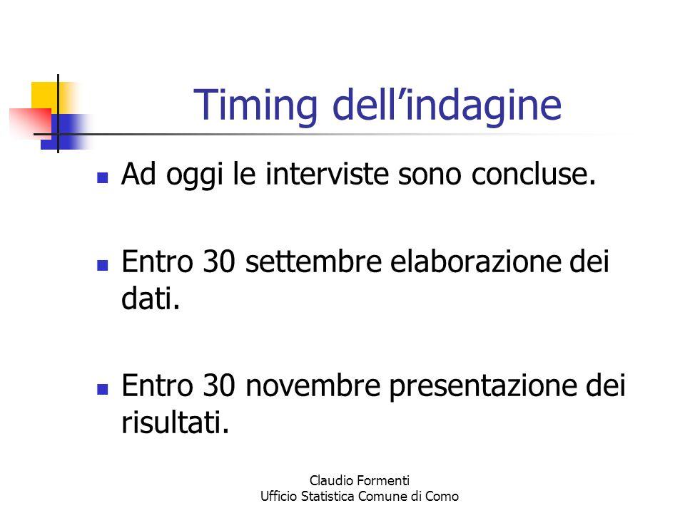 Claudio Formenti Ufficio Statistica Comune di Como Timing dellindagine Ad oggi le interviste sono concluse. Entro 30 settembre elaborazione dei dati.