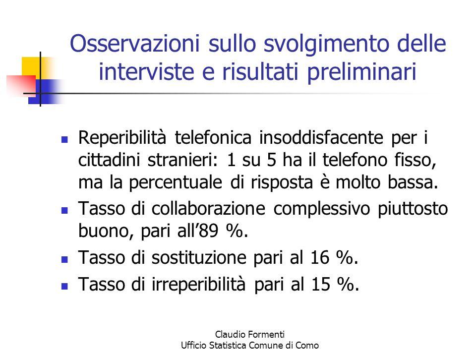 Claudio Formenti Ufficio Statistica Comune di Como Osservazioni sullo svolgimento delle interviste e risultati preliminari Reperibilità telefonica ins