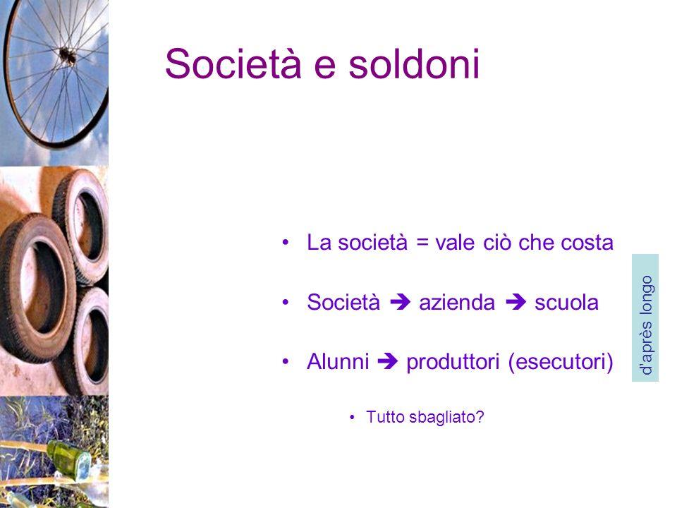 Società e soldoni La società = vale ciò che costa Società azienda scuola Alunni produttori (esecutori) Tutto sbagliato.