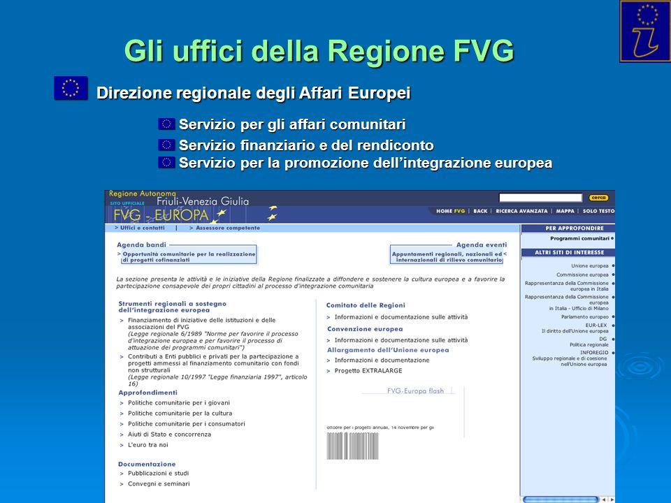 Info Point Europa Trieste - 2004 Gli uffici della Regione FVG Direzione regionale degli Affari Europei Direzione regionale degli Affari Europei Serviz