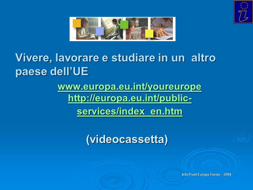 Info Point Europa Trieste - 2004 Vivere, lavorare e studiare in un altro paese dellUE www.europa.eu.int/youreurope http://europa.eu.int/public- servic