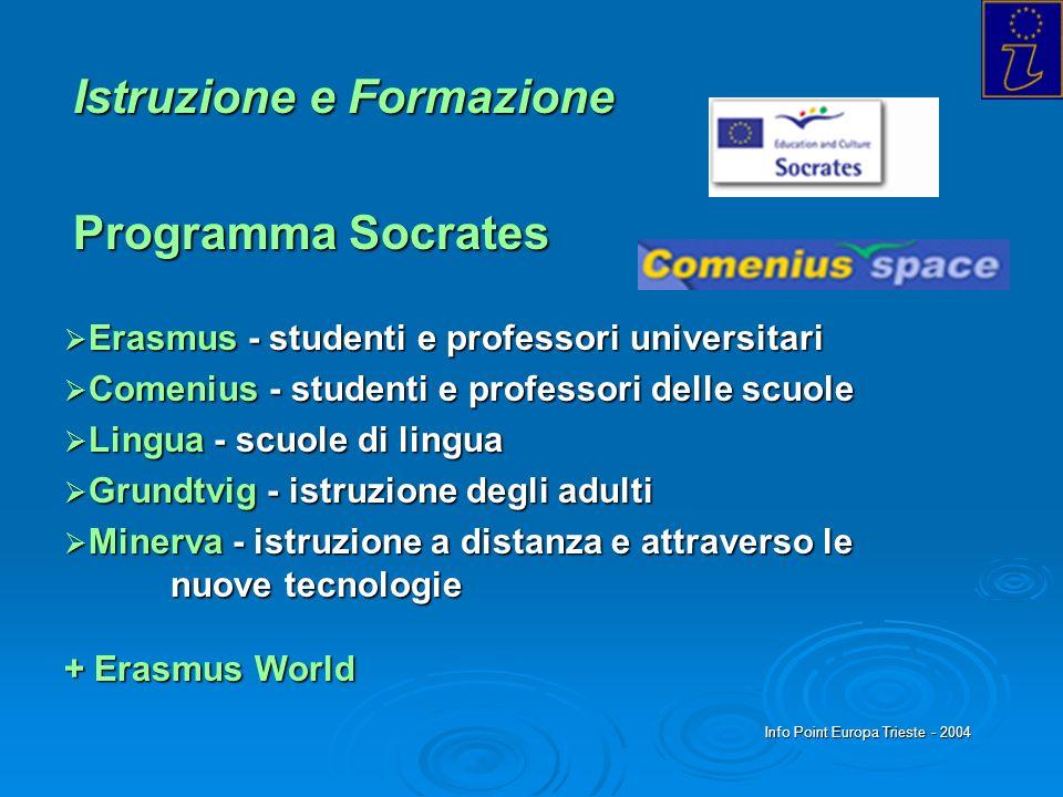 Info Point Europa Trieste - 2004 Istruzione e Formazione Programma Socrates Erasmus - studenti e professori universitari Erasmus - studenti e professo
