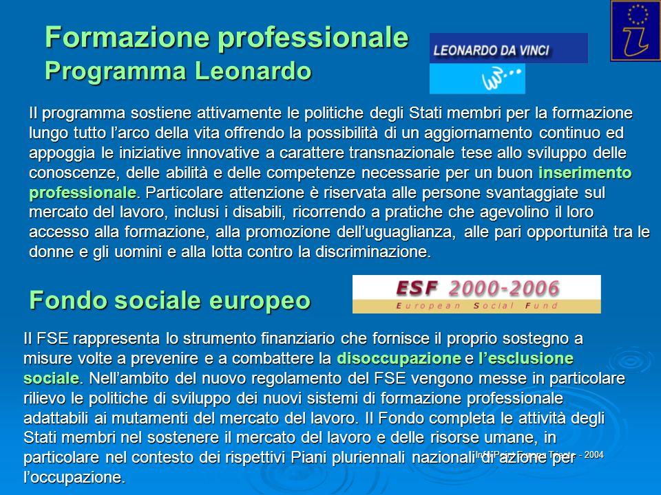 Info Point Europa Trieste - 2004 Formazione professionale Programma Leonardo Il programma sostiene attivamente le politiche degli Stati membri per la