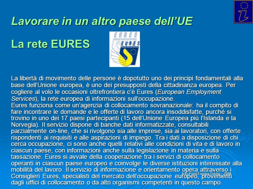 Info Point Europa Trieste - 2004 Lavorare in un altro paese dellUE La rete EURES La libertà di movimento delle persone è dopotutto uno dei principi fo