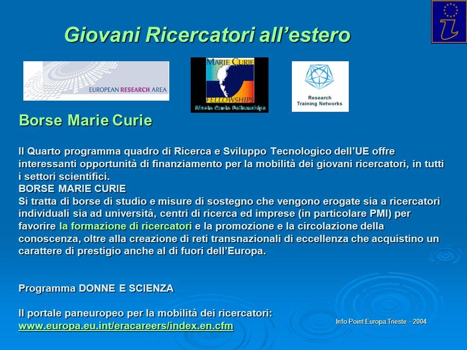Info Point Europa Trieste - 2004 Borse Marie Curie Il Quarto programma quadro di Ricerca e Sviluppo Tecnologico dellUE offre interessanti opportunità