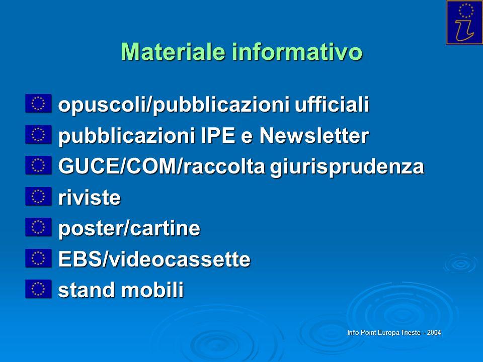 Info Point Europa Trieste - 2004 Materiale informativo opuscoli/pubblicazioni ufficiali opuscoli/pubblicazioni ufficiali pubblicazioni IPE e Newslette