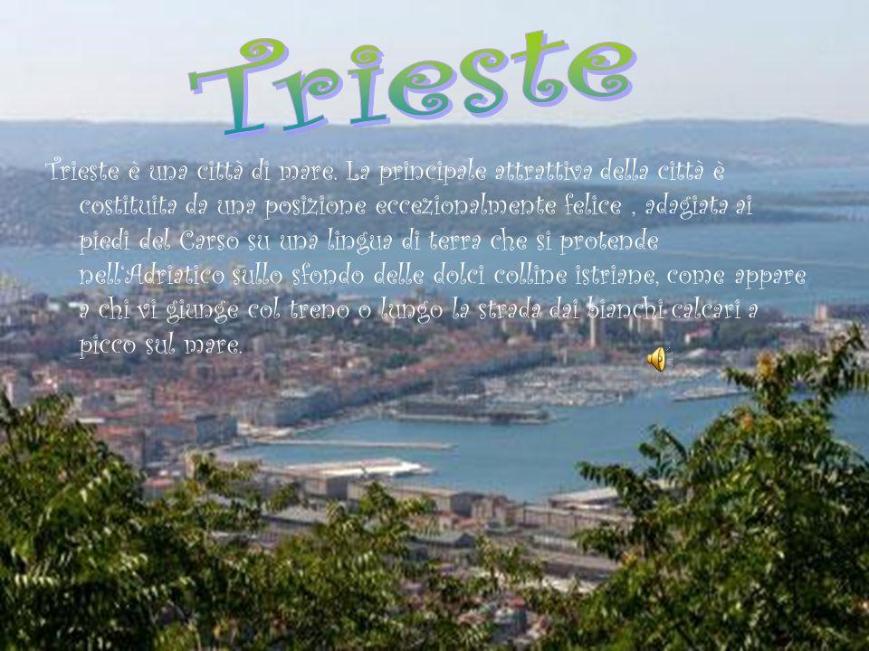 Trieste è una città di mare. La principale attrattiva della città è costituita da una posizione eccezionalmente felice, adagiata ai piedi del Carso su