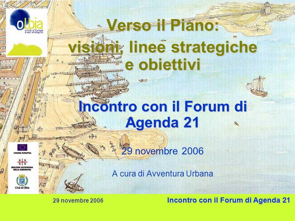 Incontro con il Forum di Agenda 21 29 novembre 2006 Incontro con il Forum di Agenda 21 Verso il Piano: visioni, linee strategiche e obiettivi Incontro con il Forum di Agenda 21 29 novembre 2006 A cura di Avventura Urbana