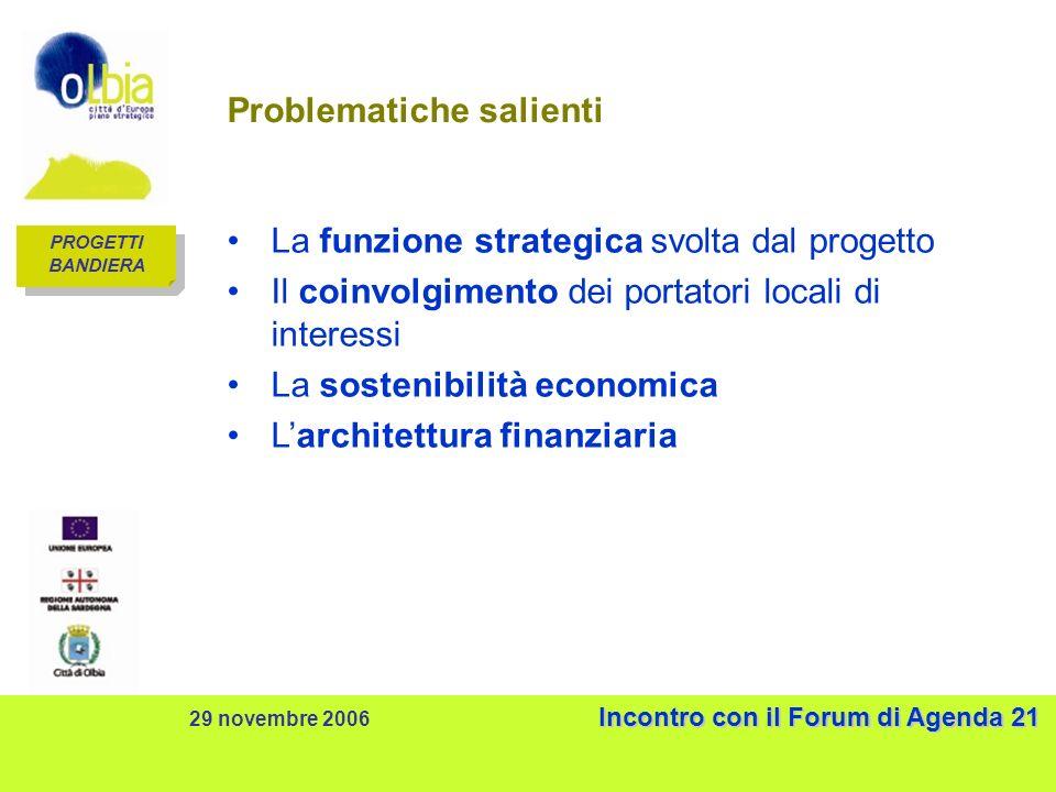 Incontro con il Forum di Agenda 21 29 novembre 2006 Incontro con il Forum di Agenda 21 Problematiche salienti La funzione strategica svolta dal progetto Il coinvolgimento dei portatori locali di interessi La sostenibilità economica Larchitettura finanziaria PROGETTI BANDIERA PROGETTI BANDIERA