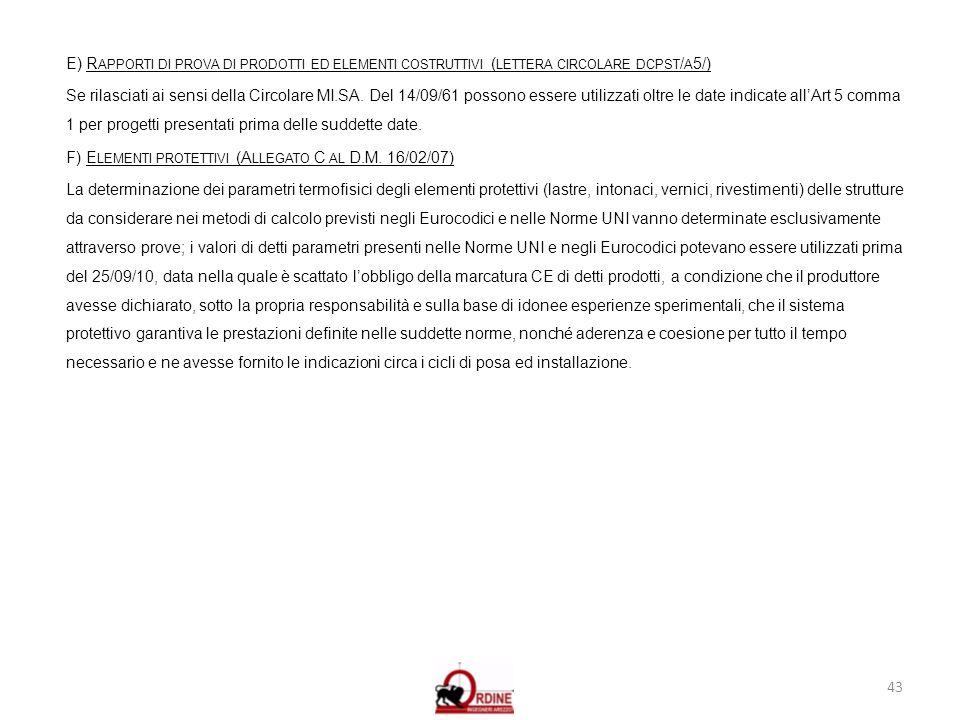 43 E) R APPORTI DI PROVA DI PRODOTTI ED ELEMENTI COSTRUTTIVI ( LETTERA CIRCOLARE DCPST / A 5/) Se rilasciati ai sensi della Circolare MI.SA. Del 14/09