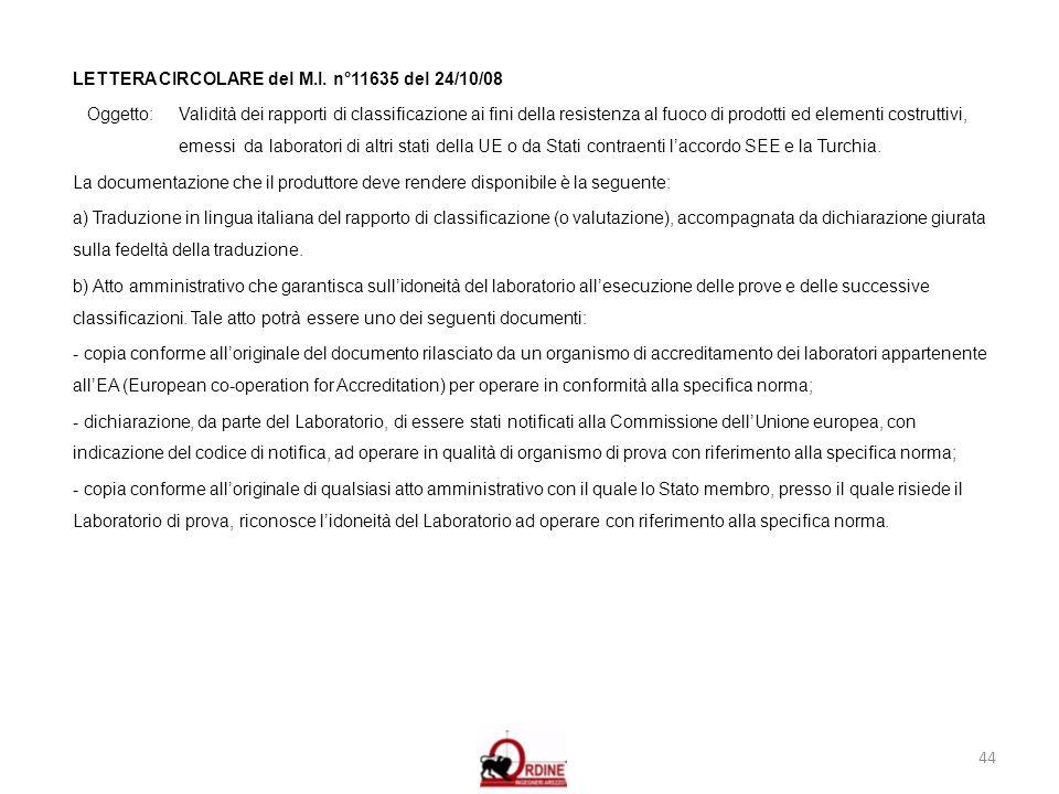 44 LETTERA CIRCOLARE del M.I. n°11635 del 24/10/08 Oggetto: Validità dei rapporti di classificazione ai fini della resistenza al fuoco di prodotti ed