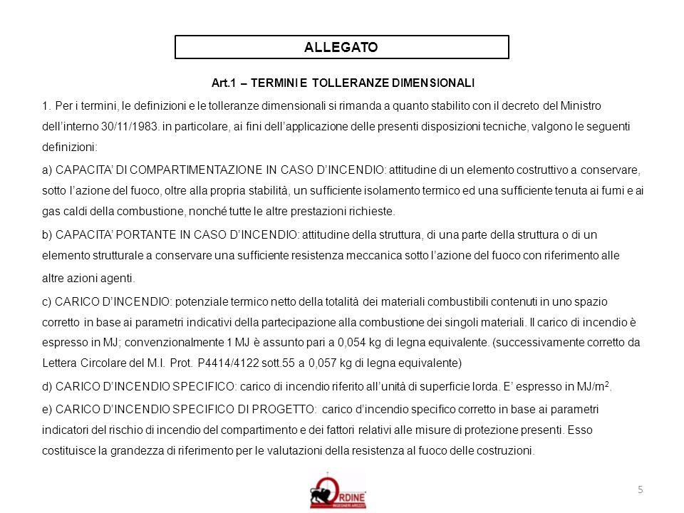 5 ALLEGATO Art.1 – TERMINI E TOLLERANZE DIMENSIONALI 1. Per i termini, le definizioni e le tolleranze dimensionali si rimanda a quanto stabilito con i