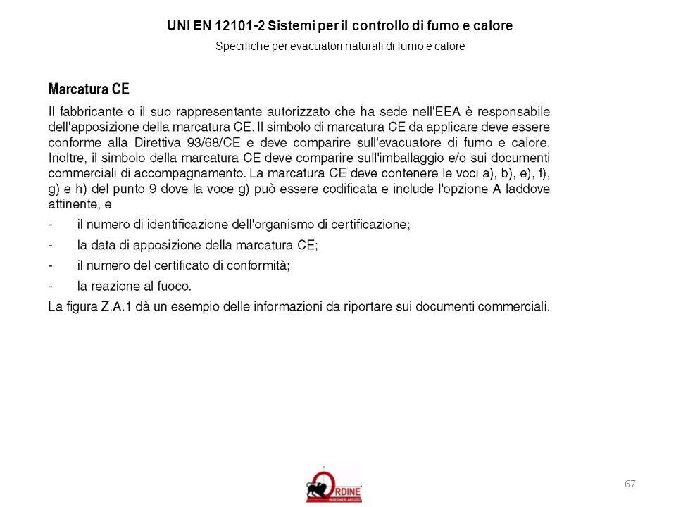 67 UNI EN 12101-2 Sistemi per il controllo di fumo e calore Specifiche per evacuatori naturali di fumo e calore