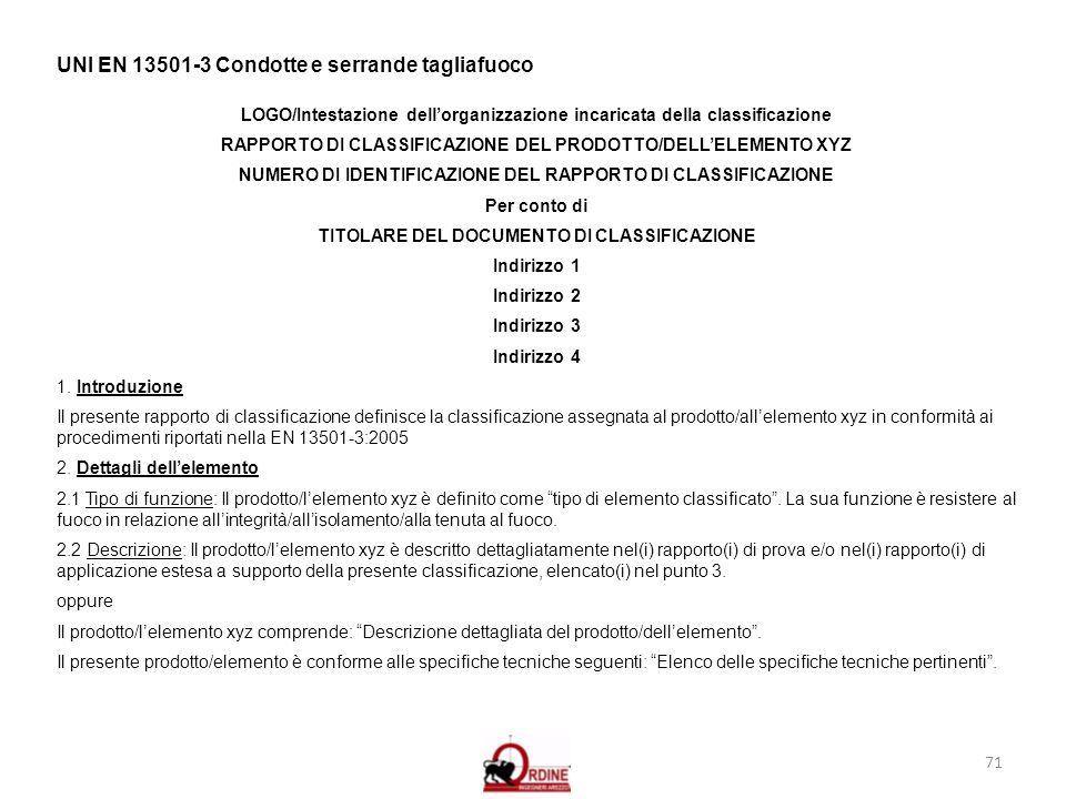 71 UNI EN 13501-3 Condotte e serrande tagliafuoco LOGO/Intestazione dellorganizzazione incaricata della classificazione RAPPORTO DI CLASSIFICAZIONE DE