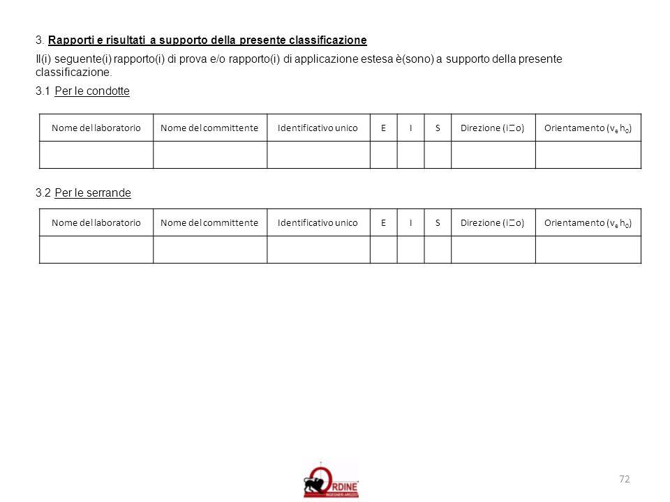 72 3. Rapporti e risultati a supporto della presente classificazione Il(i) seguente(i) rapporto(i) di prova e/o rapporto(i) di applicazione estesa è(s