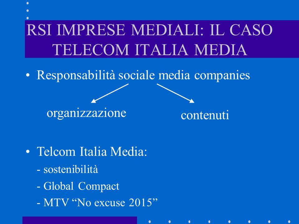 RSI IMPRESE MEDIALI: IL CASO TELECOM ITALIA MEDIA Responsabilità sociale media companies Telcom Italia Media: - sostenibilità - Global Compact - MTV No excuse 2015 contenuti organizzazione