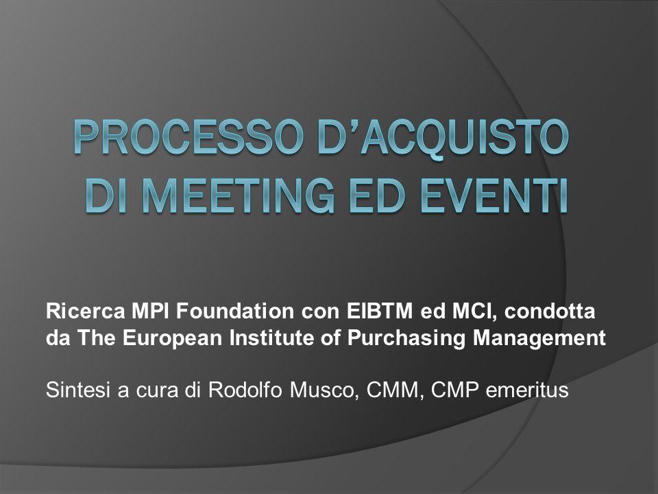 Ricerca MPI Foundation con EIBTM ed MCI, condotta da The European Institute of Purchasing Management Sintesi a cura di Rodolfo Musco, CMM, CMP emeritu