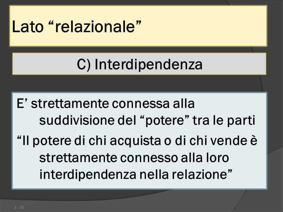 Lato relazionale C) Interdipendenza 3 - 13 E strettamente connessa alla suddivisione del potere tra le parti Il potere di chi acquista o di chi vende