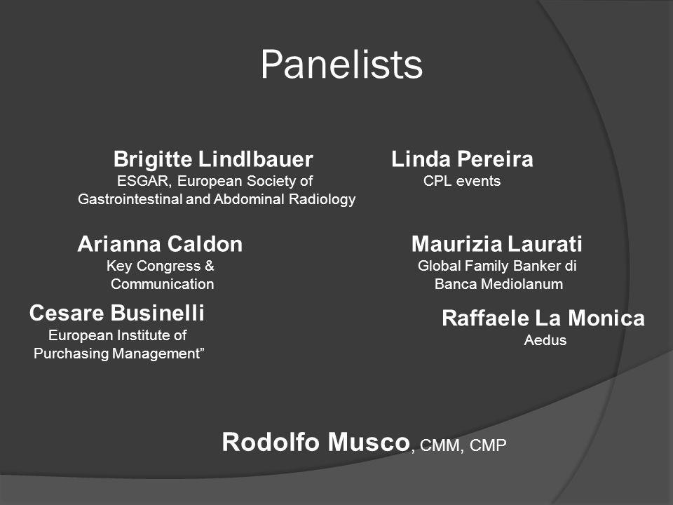Panelists Arianna Caldon Key Congress & Communication Cesare Businelli European Institute of Purchasing Management Brigitte Lindlbauer ESGAR, European