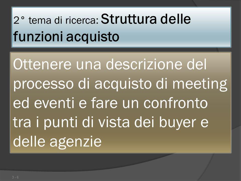 2° tema di ricerca: Struttura delle funzioni acquisto 3 - 6 Ottenere una descrizione del processo di acquisto di meeting ed eventi e fare un confronto