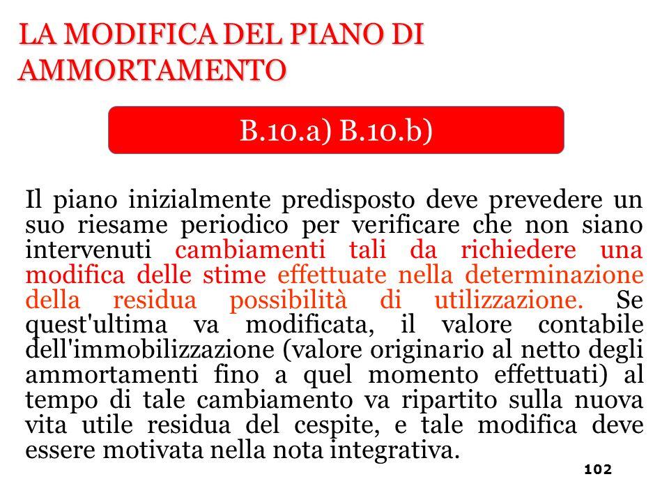 LA MODIFICA DEL PIANO DI AMMORTAMENTO B.10.a) B.10.b) Il piano inizialmente predisposto deve prevedere un suo riesame periodico per verificare che non