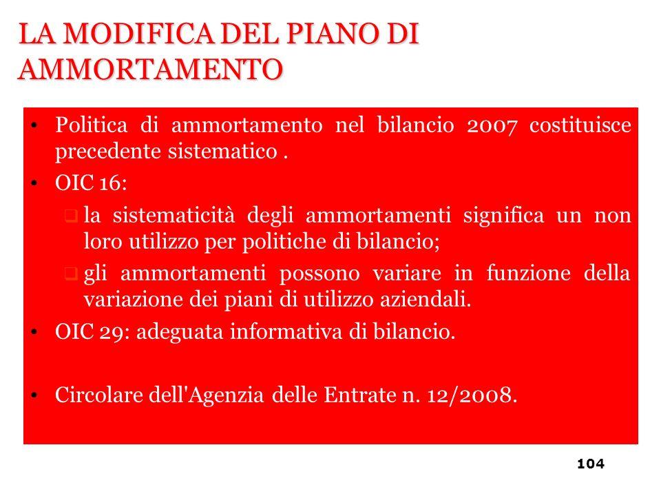 LA MODIFICA DEL PIANO DI AMMORTAMENTO Politica di ammortamento nel bilancio 2007 costituisce precedente sistematico. OIC 16: la sistematicità degli am