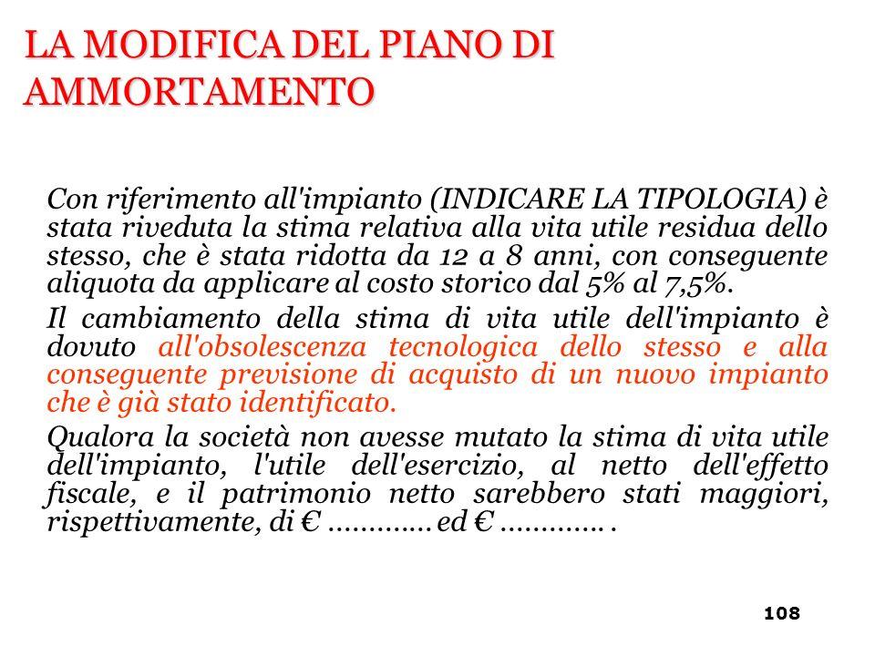 LA MODIFICA DEL PIANO DI AMMORTAMENTO Con riferimento all'impianto (INDICARE LA TIPOLOGIA) è stata riveduta la stima relativa alla vita utile residua