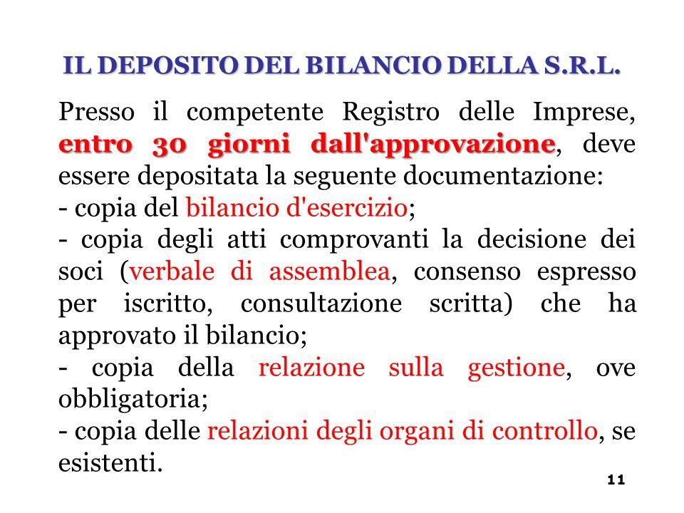 entro 30 giorni dall'approvazione Presso il competente Registro delle Imprese, entro 30 giorni dall'approvazione, deve essere depositata la seguente d