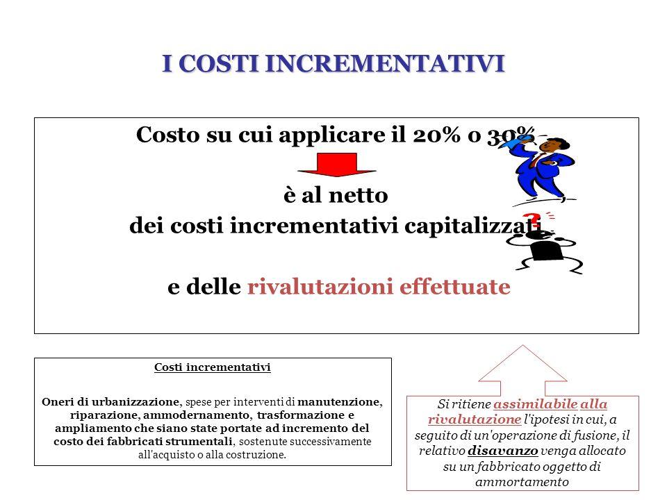 Costo su cui applicare il 20% o 30% è al netto dei costi incrementativi capitalizzati e delle rivalutazioni effettuate Costi incrementativi Oneri di u